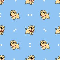 niedliches Labrador Retriever Welpen Cartoon nahtloses Muster vektor