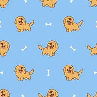 lindo golden retriever cachorro de dibujos animados de patrones sin fisuras vector