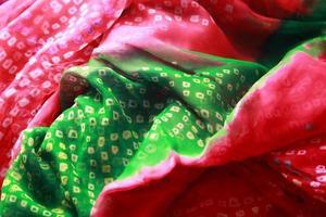 Indian bandhej saree cloth fabric texture photo