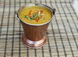 Traditional indian food - Dal Makhni soup photo