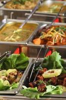 Indian cuisine - six dishes in a restaurant.