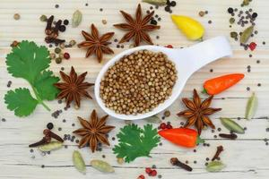 Coriander seeds with selection of Indian spices