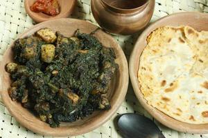 Saag paneer es un vegetal del norte de la India foto