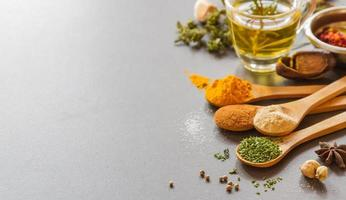 Mix spices and herb background.