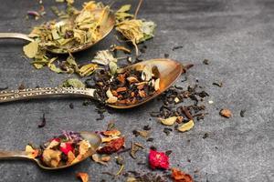 Herbal and masala tea on a black chalkboard photo