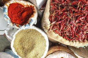 chiles rojos, semillas de cilantro y polvo frío foto