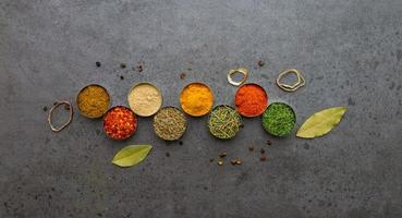 Spices mix selection background.