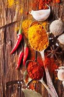 Various spices on wood photo