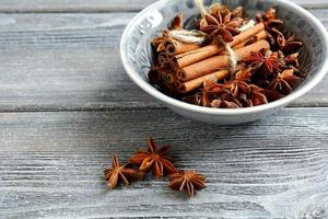 Cinnamon and star anise in small bowl