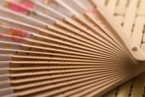 Oriental wooden fan photo