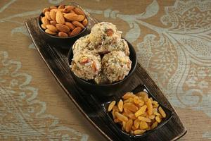 Indian sweets dryfruit and cocnut ladoo photo