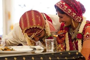 Happy Indian couple at their wedding.
