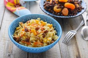 Sweet pilaf with dried fruits