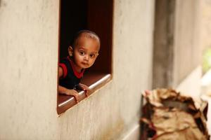 Portrait of 2 year old Indian Boy in a Window photo
