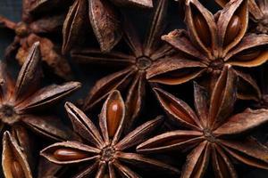 Star anise seeds. Macro. photo