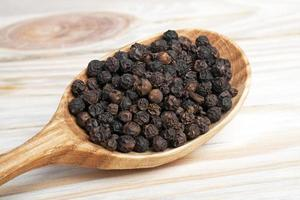 Black pepper in spoon on a wooden background