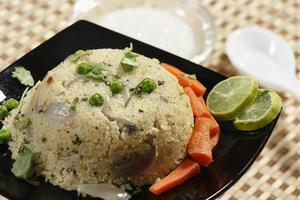 Upma is an Indian dish made of wheat rava