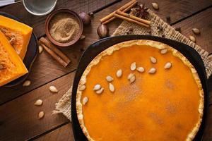 American pumpkin pie with cinnamon and nutmeg