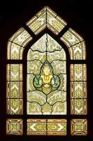 Antique Thai temple stained glass motif ,Bangkok Thailand