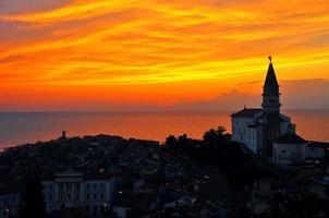 Coastal Town And Sunset In Slovenia