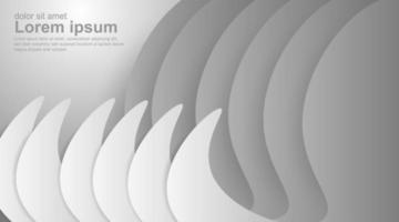 White gray gradient geometric 3d curve background  vector