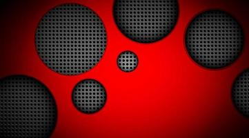 Red glowing background with round grey cut out shapes