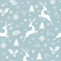 Seamless Christmas background with deer, snowflakes and decorations. vector