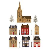 Set of cottages and church and trees. vector