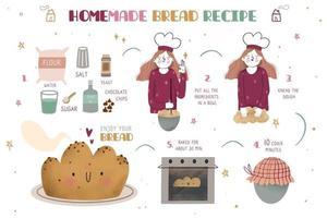 Homemade bread recipe vector