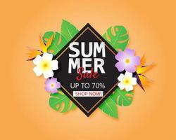 bannière de vente d'été avec des fleurs et des feuilles