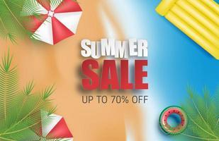 fond de vente d'été avec parapluie