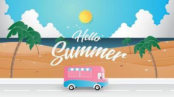 Cartel de viaje de verano con furgoneta vector