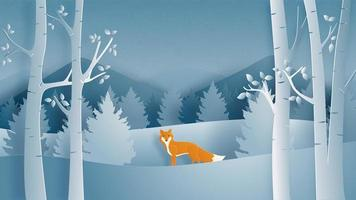 Winter landscape with alone fox vector