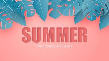 Pink summer tropical leaves vector