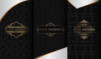 conjunto de fondos de textura de oro y negro de lujo