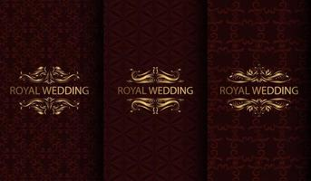 Set of luxury deep red and gold textured backgrounds
