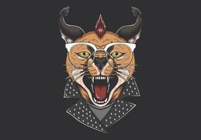 Caracal Cat Punk Kopf vektor