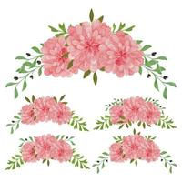 Vintage pink floral arrangement watercolor set vector