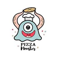 Monster pizza for food store vector