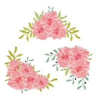 arreglo de marco de flores de dalia acuarela pintada a mano vector