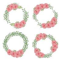 conjunto de marco de corona de flores de Dalia acuarela vector