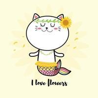 süße Katze Meerjungfrau mit Sonnenblume vektor