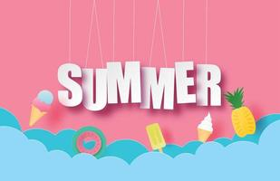 Hello summer hanging text vector