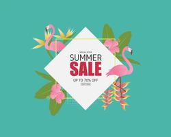 bannière de vente d'été avec oiseau flamant rose