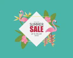 Summer sale banner with flamingo bird