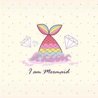 Mermaid Tail in water vector