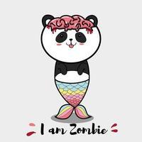 dessin animé panda zombie