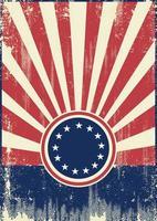 American Flag Retro Sunbeams Background vector
