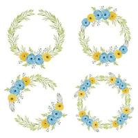 Watercolor painted rose floral wreath set in blue yellow color vector
