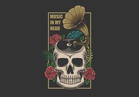 música de calavera en la cabeza vector